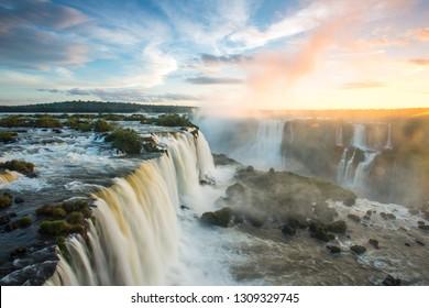 Close view of Iguazu Falls, Foz do Iguazu,  Brazil