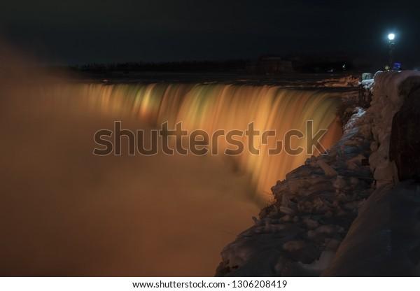 Close View Illuminated Glowing Niagara Falls Stock Photo