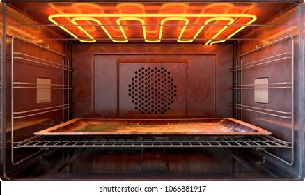 A close view inside a  hot operational household oven with an empty tanished baking tray - 3D render