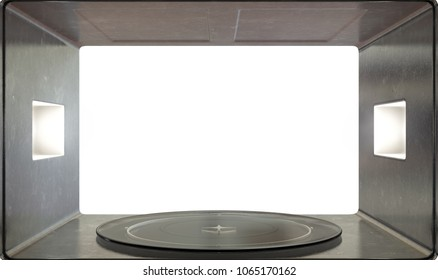 A close view from inside an operational household microwave looking outwards - 3D render