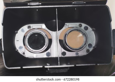 A close up view the inside VR glasses