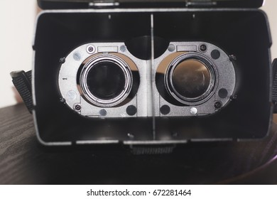A close up view the inside VR glasses goggles