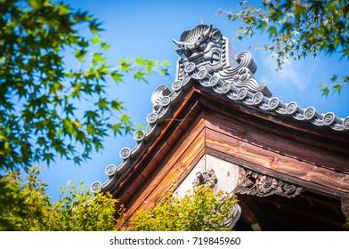 Close up view of Japanese style gable at Ryoanji Temple. Kyoto, Japan.
