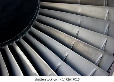 Close up view of a jet engine turbine