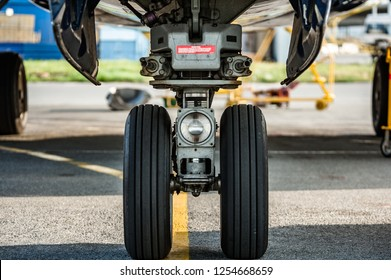 Close up view of landing gear