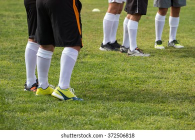 Close up view of Legs of soccer players