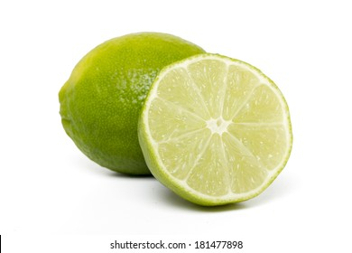 Close up view of lime fruit isolated on a white background.
