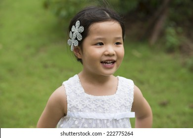 Close up view of little asian girl