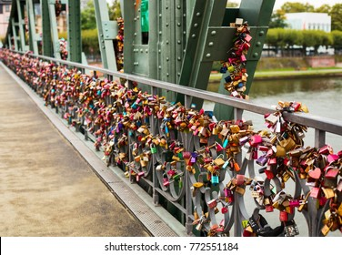 Close up view of locks on bridge railing, Frankfurt on Main, Germany