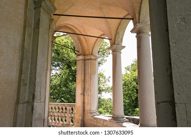 """Close view of the loggia of one of the fourteen chapels of the seventeenth century, with the representation of the Via Crucis, of the """"Sacro Monte di Varese"""""""