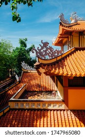 Close view of the Long Son Pagoda with dragon-form roof decorations, Nha Trang, Vietnam
