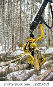 Close up view of a machine operating a raw piece of wood. Felling of the forest