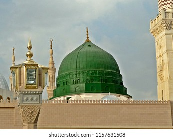 Close Up View of Madina Green Dome