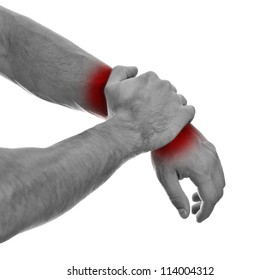 Close up view of male hands with wrist pain.