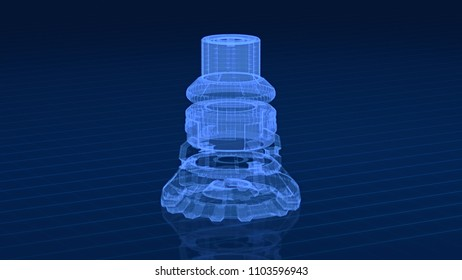 close up view of a mechanical component, wireframe style (3d render)