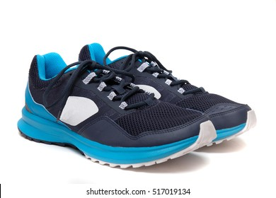 364ba4b85 Close up view of a modern blue man sports shoes isolated on a white  background.