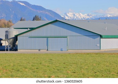 Close view of a modern farm building constructed with sturdy metal sheeting and used for various agricultural requirements.