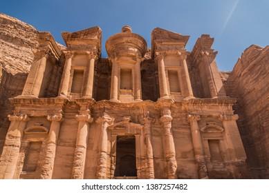 Close up view of the Monastery, Petra, Jordan