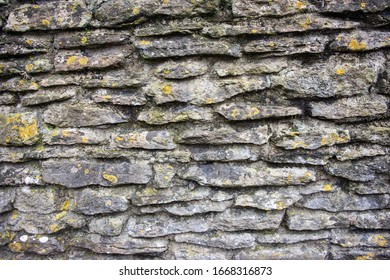 Close view of a mortared stone wall built using flat stones and with different lichens and mosses growing