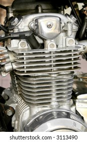 Close up view of the motorcycle engine