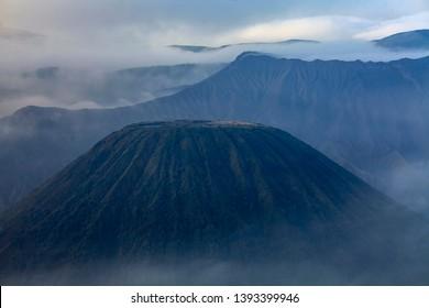Close up view of Mount Batok, Mount Bromo and Semeru