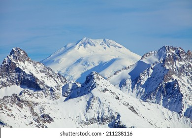 Close view of Mount Elbrus summit that Is a dormant volcano located in the western Caucasus mountain range, Russia.