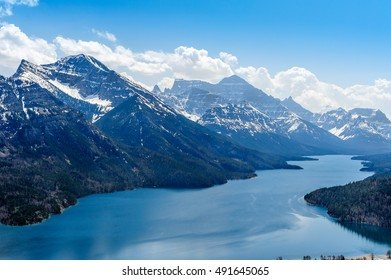 close view of Mount Vimy and  Waterton Lake and glaciers,Waterton Lakes National Park,Alberta, Canada