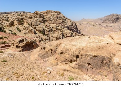 Close view of the mountains and rocks in Petra, the capital of the kingdom of the Nabateans in ancient times. UNESCO World Heritage