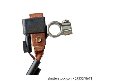 Close up view negative battery terminal and squib for disconnection in case of an accident. Vehicle security systems.