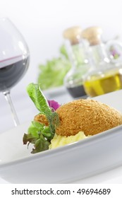 Close up view of nice delicious chicken Kiev on white back