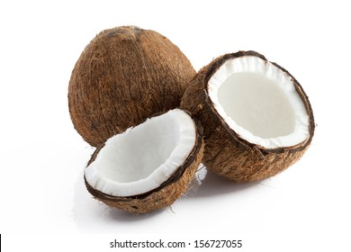 Close up view of nice fresh coconut ion white back