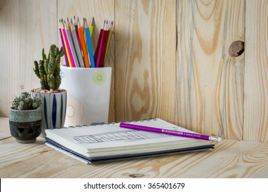 Close up view of the office table on wooden background
