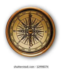 Close up view oft the old compass with soft shadow