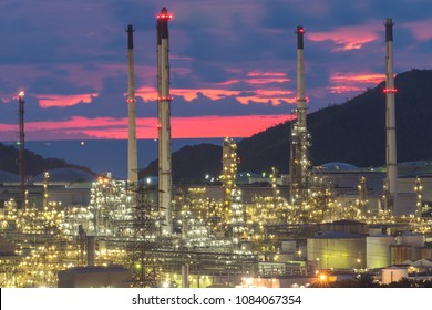 Close up view oil refinery industry at the sunset