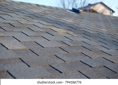 Close up view on Asphalt Bitumen tile roof.