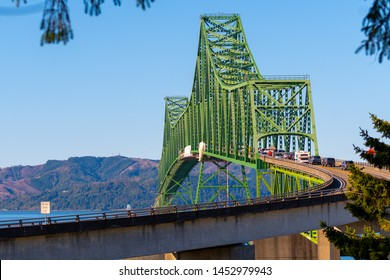 Close up view on Astoria-Megler Bridge, a steel cantilever through truss bridge in northwest United States spanning Columbia River between Astoria, Oregon, and Point Ellice near Megler, Washington.