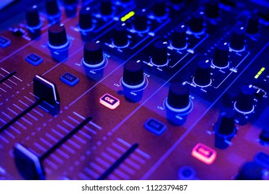 Close view on the buttons of the mixer