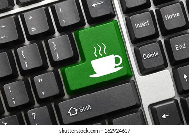 Close up view on conceptual keyboard - Coffee cup (green key)
