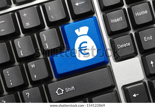 Close up view on conceptual keyboard - Bag of euros (blue key)