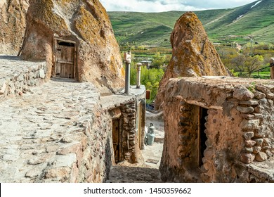 close up view on courtyard and interior of traditional Iranian ancient cave village of troglodyte in Kandovan in East Azerbaijan Province. Iran. near Tabriz city. looks like village in Turkey