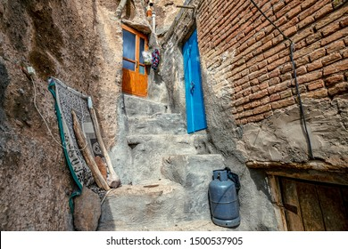 close up view on courtyard and interior of traditional Iranian ancient cave village of troglodyte in Kandovan in East Azerbaijan Province. Iran. near Tabriz city. selective focus