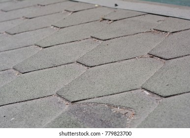 Close up view on Dirty and Bad Asphalt Roofing Shingles Roof. Roof Shingles - Roofing Construction, Roofing Repair.