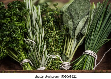 close view on fresh herbs bunch