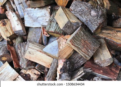 Close up view on a pile of chopped firewood