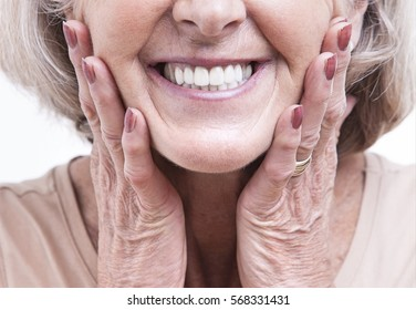 Close up view on senior dentures
