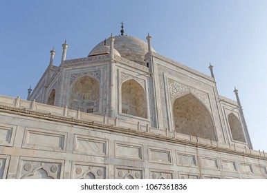 close up view on Taj Mahal in Agra, India