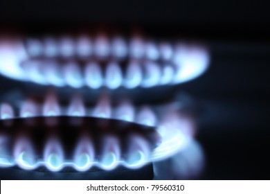 Close up view on two burners of cooker