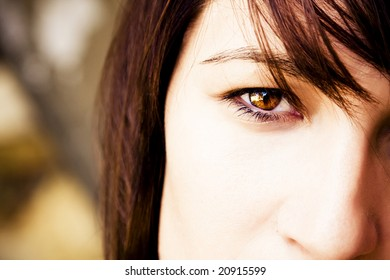 Close view on a womans eye.