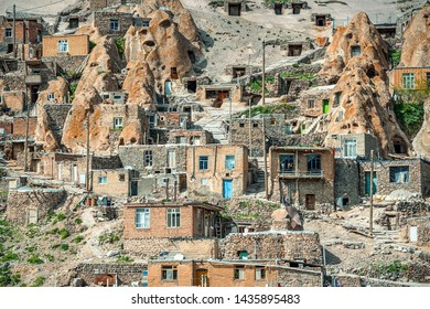 close up view on yard of traditional Iranian ancient village in Kandovan in East Azerbaijan Province. Iran. selective focus