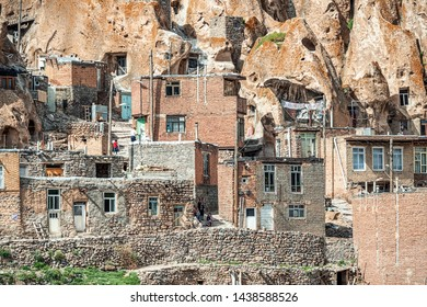 close up view on yard of traditional Iranian ancient cave village of troglodyte in Kandovan in East Azerbaijan Province. Iran. near Tabriz city. looks like village in Turkey